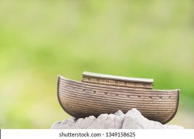 Miniature Noah's Ark on Mountain.Biblical series, Noah and the ark before great flood.