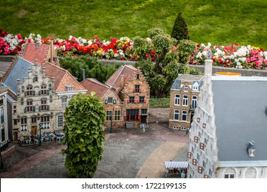 Miniature old Dutch houses at Madurodam in The Hague the Netherlands