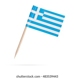 Miniature paper flag Greece. Isolated Greek flag pointer on white background. With shadow below