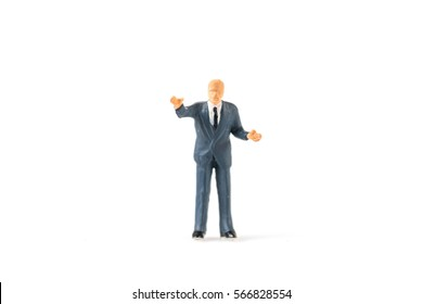 Miniature people businessman on white background with a space for text