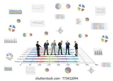 Miniature people : Businessman standing with chart on white background