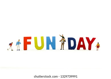 Miniature people : Children and friend funny and enjoy together using for concept of Fun day.