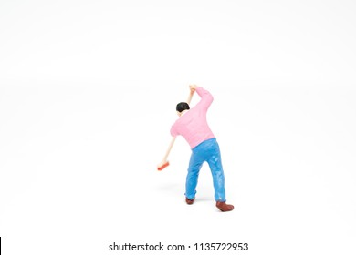 Miniature people cleaning up concept on white background with a space for text
