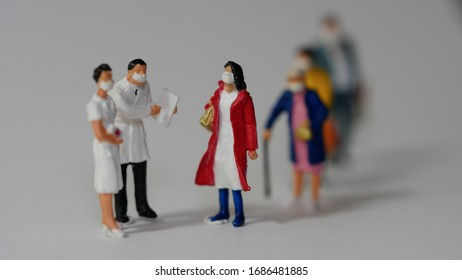 Miniature people : Doctors and nurses are checking the health. People wear masks to prevent New type COVID-19 pneumonia in the city. eople wear surgical masks walking. Coronavirus Concept.