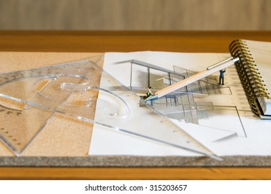 Miniature people drawing Architectural