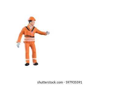 Miniature people engineer and worker occupation isolated with clipping path on white background. Elegant Design with copy space for placement your text, mock up for industrial and construction concept