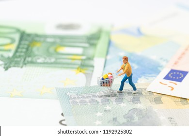 Miniature people figurine with grocery in the shopping cart trolley walking on the bridge through Euro sign on Euro banknotes  using as ecommerce, consumer or buy and sell, Europe economy.