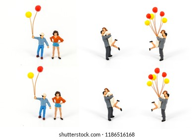 miniature people  isolated on white background, creative image for positive idea concept.