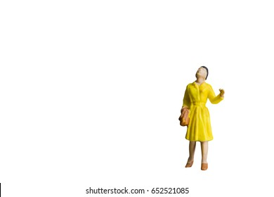 Miniature people isolated on white background with clipping path