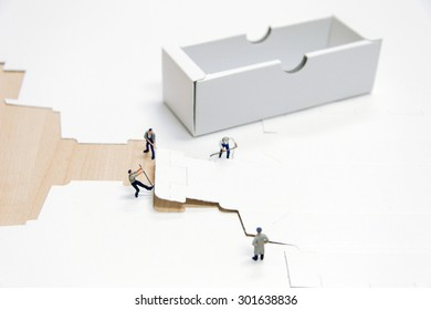 miniature people making box