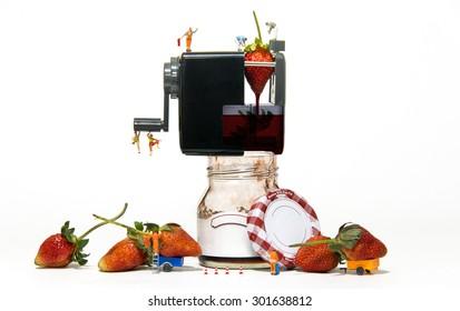 miniature people making jam