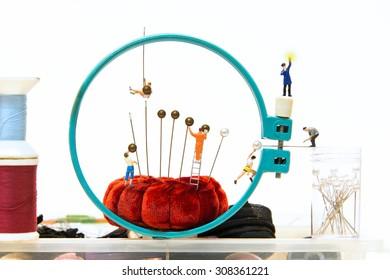 Miniature people making Round head pin