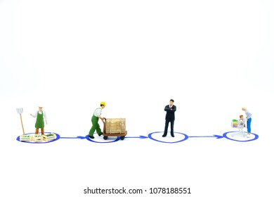 Miniature people: Material Flow of product. Image use for supply chain, business market concept.
