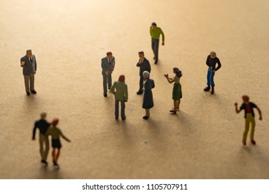 Miniature people meeting. Social concept.