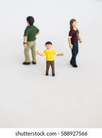 Miniature People or Mini figure. Divorce concept