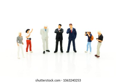 Miniature people : Moderator are interviewing guests, successful business executives. Image use for Entertainment Industry.