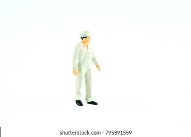 Miniature people office, worker, engineer worker, construction, cook, chief kitchen and traveler concept in variety action on white background