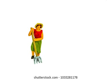 Miniature people office, worker, and farming concept in variety action on white background with space for text