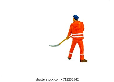 Miniature people office, worker and fire worker concept in variety action on white background with space for text