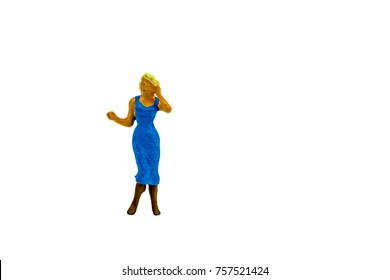 Miniature people office, worker and happy wedding party concept in variety action on white background with space for text