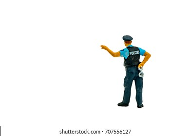 Miniature people office, worker, police  and thief concept in variety action on white background with space for text