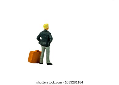Miniature people office, worker, shopping and traveler concept in variety action on white background with space for text