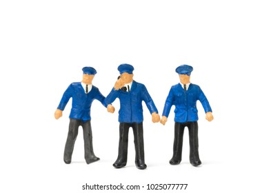 Miniature People Policeman Standing Isolate On White Background