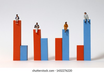 Miniature people sitting on a bar graph.