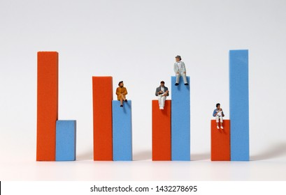 Miniature people sitting on a bar graph. The concept of declining birth rate and aging population.