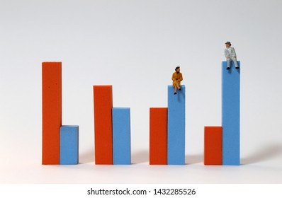 Miniature people sitting on a bar graph. The concept of an aging society.