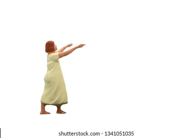 Miniature people sleepwalker Isolated on white background with clipping path