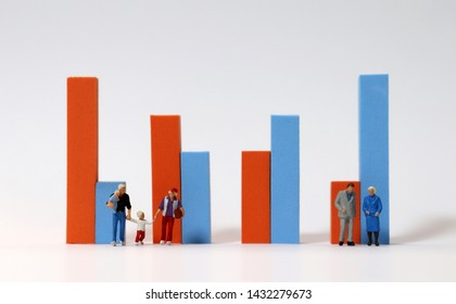 Miniature people standing in front of a bar graph. The concept of declining birth rate and aging population.