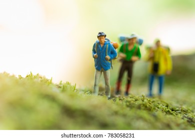 Miniature people : traveler walking on the roads are cluttered with grass. Used to travel to destinations on travel business background concept.