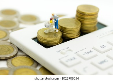 Miniature people: Woman  with shopping cart stand on calculator. Image use for retail business concept.