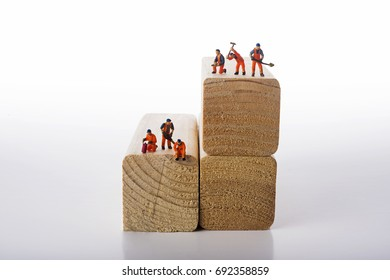 Miniature people workers occupation isolate on white background. Industrial and construction concept