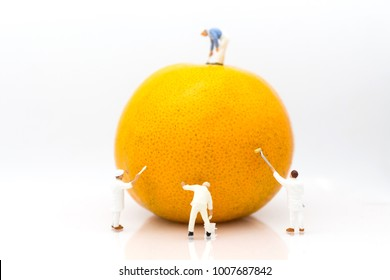 Miniature people: Workers are painting color on orange peels. Image use for creativity, business concept.