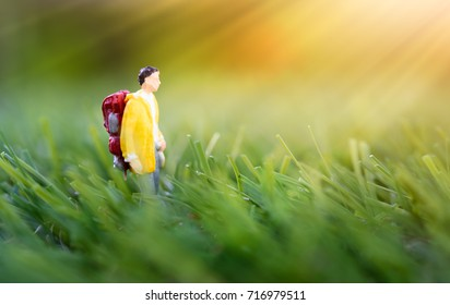 Miniature people,backpack traveler morning walk in nature green meadow background