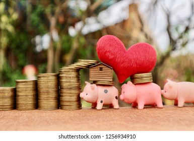 Miniature pig help carry gold coins, house, red heart and rolls increase ladder of gold money on wood table in blur natural tree bright sunlight