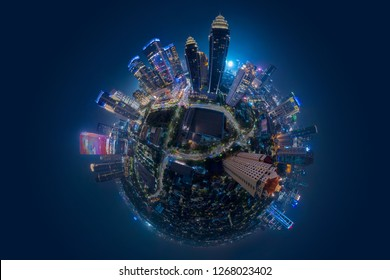 Miniature planet of Jakarta central business district with high buildings at night time
