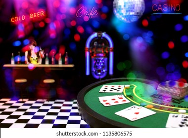 Miniature Poker Table Bar Scene Composite Image With Neon Signs and Bokeh
