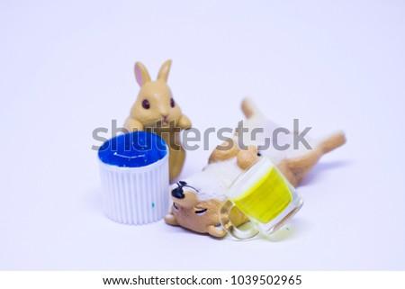 Miniature Rabbit Shiba Dog Going Play Stock Photo Edit Now