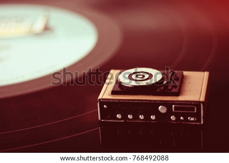 Miniature Record Player On Background Vinyl Stock Photo (Edit Now