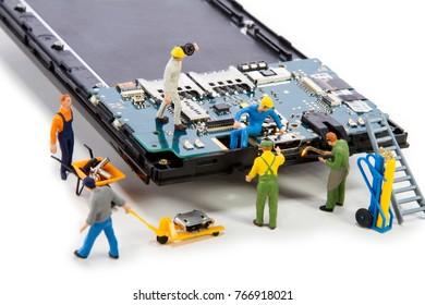 Miniature - repair usb connector in smartphone