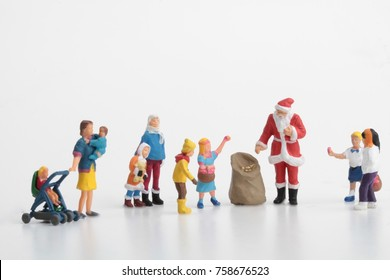 miniature of Santa Claus with children