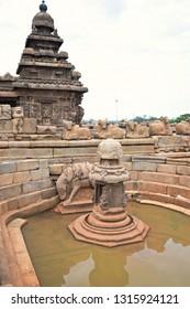 """Miniature Shrine of Lord Shiva with Bhuvaraha Image, located on the north side of Shore Temple, Mahabalipuram, Tamilnadu, South India"""