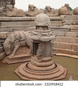 """Miniature Shrine of Lord Shova with Bhuvaraha Image located on the northern side of Shore Temple, Mahabalipuram, Tamil nadu, South India"""