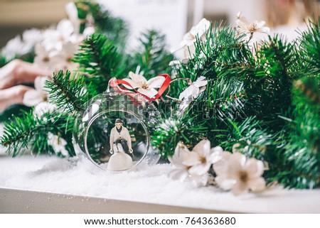 Miniature Ski Man Glass Ball Christmas Stock Photo Edit Now