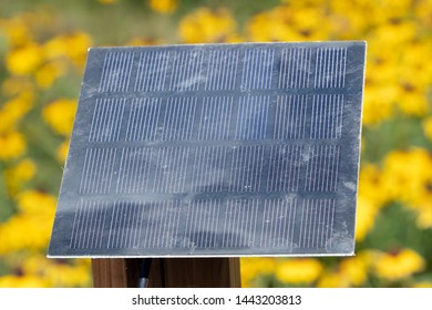Miniature solar panel in a garden supplying power for a small fountain pump
