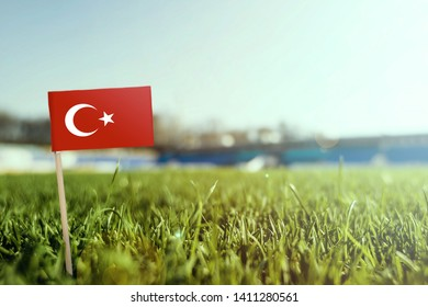 Miniature stick Turkey flag on green grass, close up sunny field. Stadium background, copy space for text.