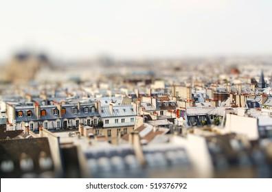 Miniature tilt shift lens effect of architecture of Paris, France. Traditional buildings.